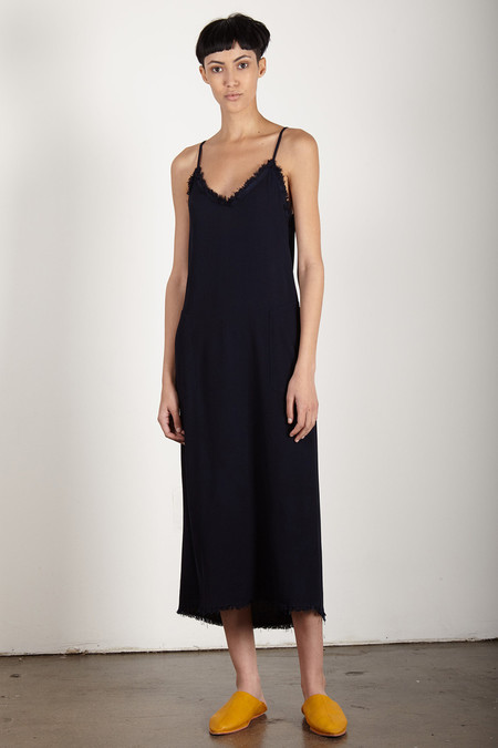 Raquel Allegra NAVY CREPE V CAMI DRESS