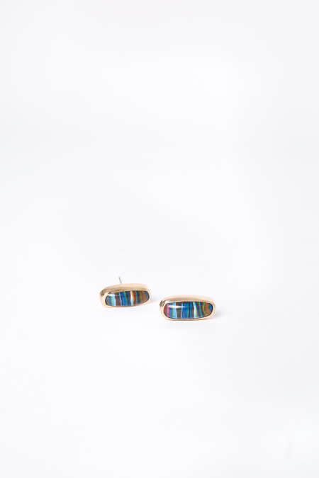 Melissa Joy Manning Bezel Set Post Earrings in Rainbow Calsilica/Gold