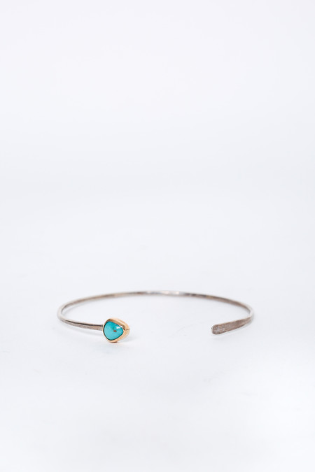 Melissa Joy Manning Sterling Silver Cuff with Turquoise/Gold Bezel