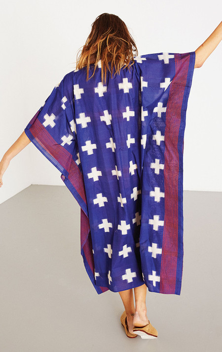 Two New York Blue Plus caftan with fuchsia lines
