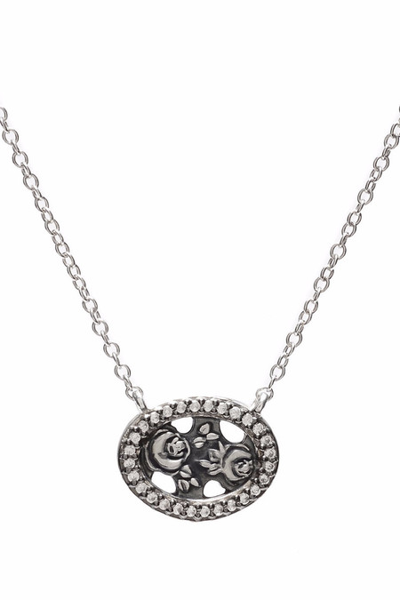 Oliver Kelly Mini Silver Rose w/ Diamonds