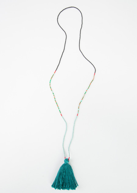 Lorena Pestana Single Tassel Beaded Necklace