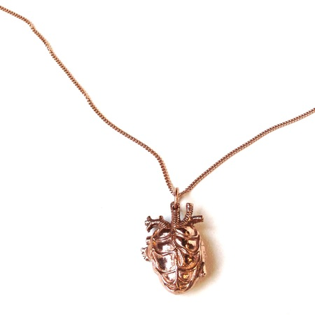 Justine Brooks 'Rose Gold Anatomical Heart' necklace