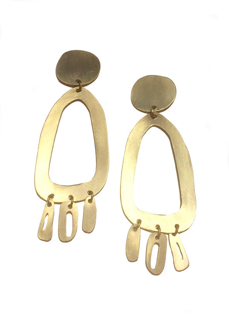 Modern Weaving Odd Oval Fringe Earrings
