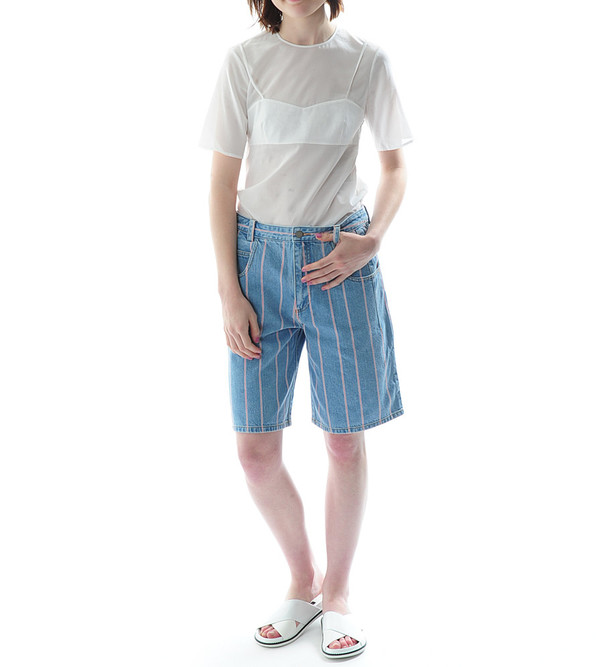 T By Alexander Wang Selvage Stripe Denim Baggy Long Shorts