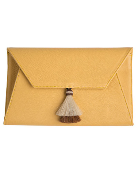 Oliveve cleo envelope clutch in chamois cow leather with horsehair tassel