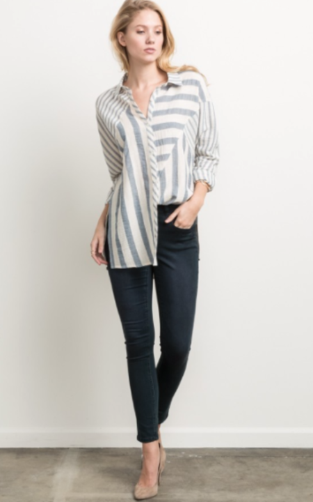 Sunday Supply Co. Mixed Stripe Dolman Top