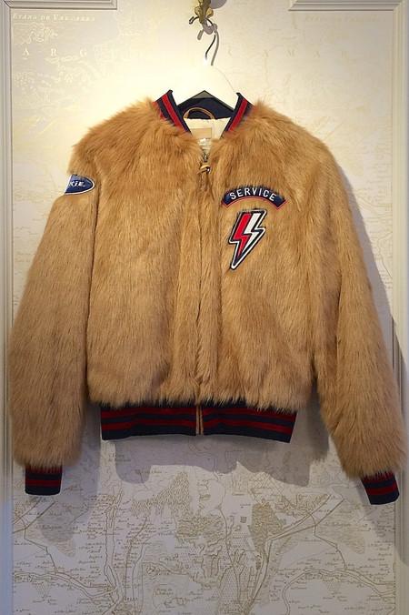 Mother Denim Letterman Patch Faux Fur Jacket
