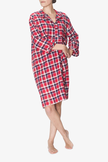 The Sleep Shirt Long Sleep Shirt Navy and Red Plaid