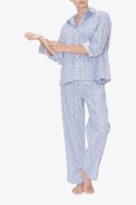The Sleep Shirt Set - Button Down Top and Lounge Pant Blue Floral Stripe