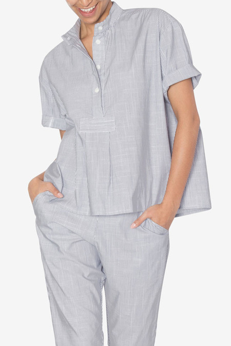The Sleep Shirt Short Sleeve Cropped Shirt Navy Pinstripe