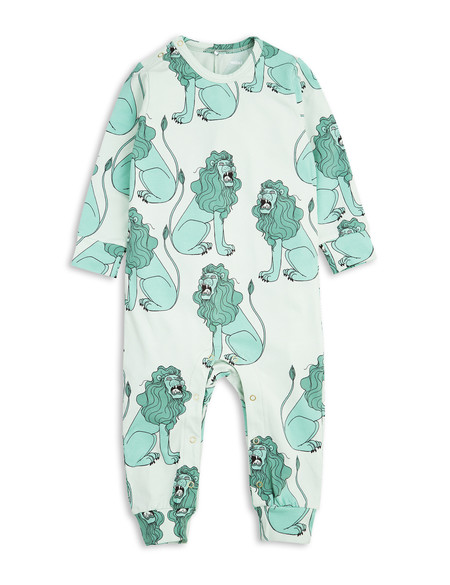 Kid's Mini Rodini LION PRINT ONESIE - LIGHT GREEN