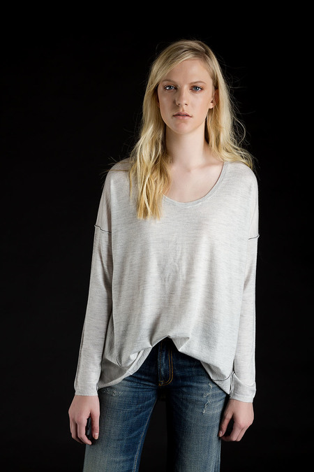Paychi Guh Cashmere L/S Boxy Tee Dove Grey