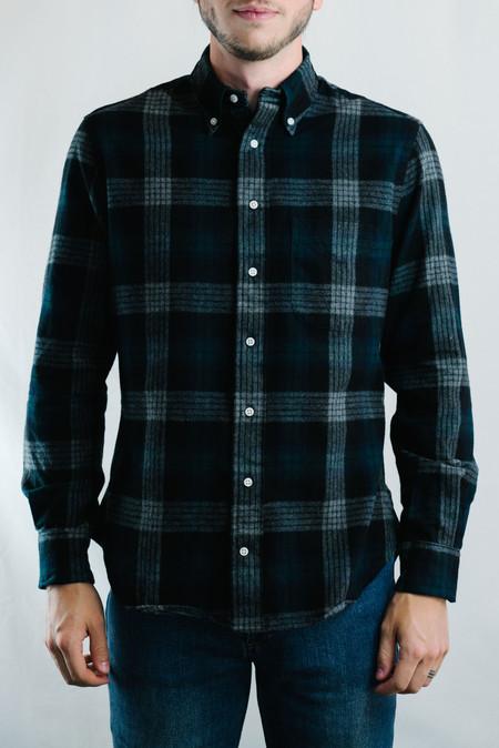 Gitman Vintage Brushed Japanese Flannel Check Shirt (Grey)