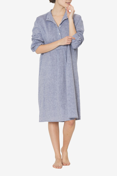The Sleep Shirt Long Sleep Shirt Linen Chambray
