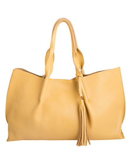 Oliveve isabel tote in chamois pebble leather with leather tassel-for preorder