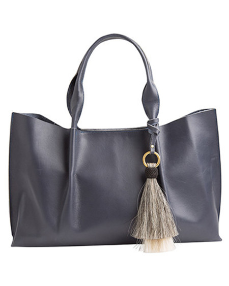Oliveve isabel tote in navy saddle leather with double horsehair tassel - for preorder