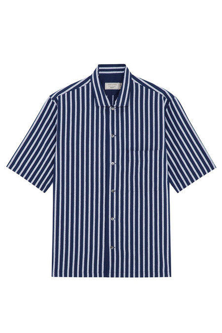 Kitsune Men's Stripe Short Sleeve Shirt | Navy