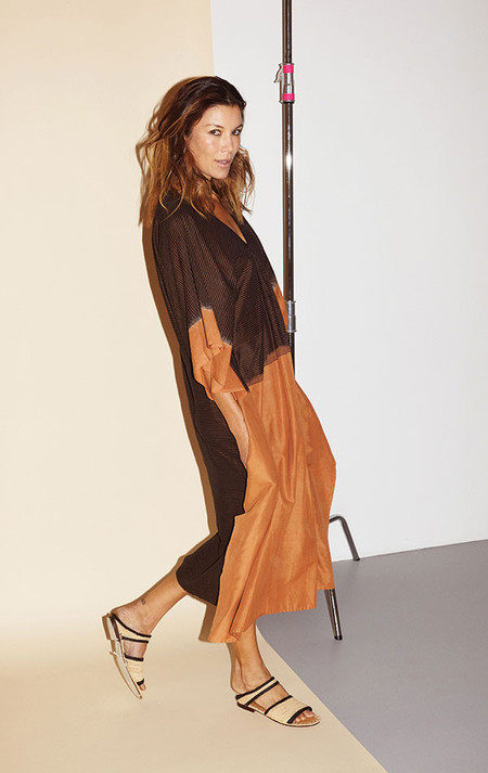 two-nyc Ikat caramel caftan solid front