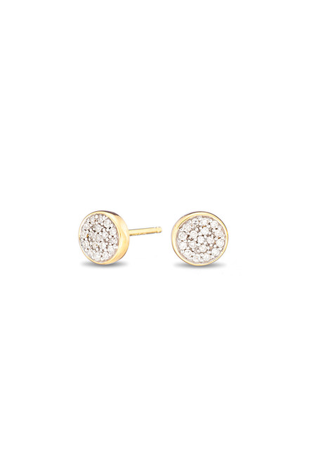 Adina Reyter Solid Pave Disc Posts 14k Yellow Gold