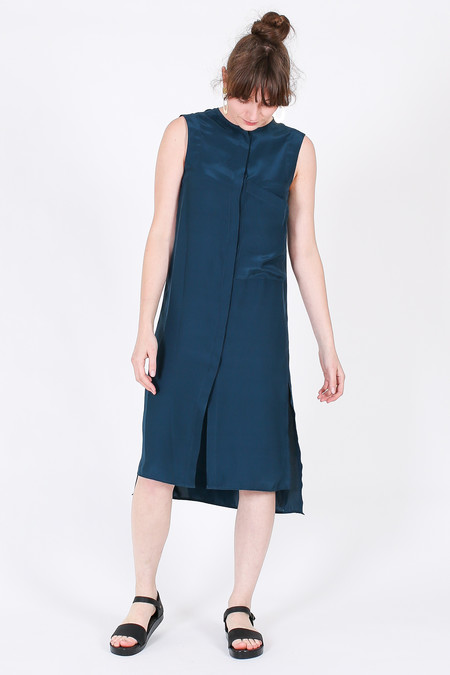 Vincetta Sleeveless Shirt Dress in Dark Teal
