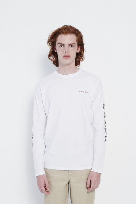 Soulland Chen Long Sleeve T-Shirt in White