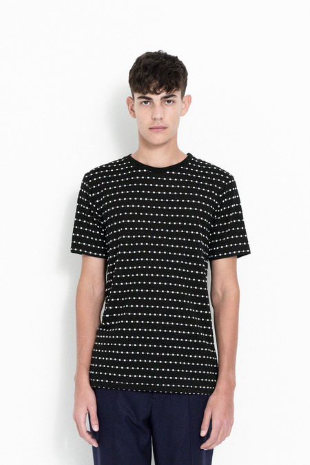 Soulland Fernell Jacquard T-Shirt in Black/White Dots