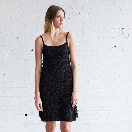 M.PATMOS Eve Fringe Dress Black
