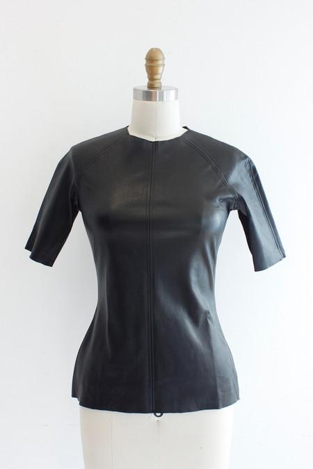 Hazel Brown Black leather T-shirt