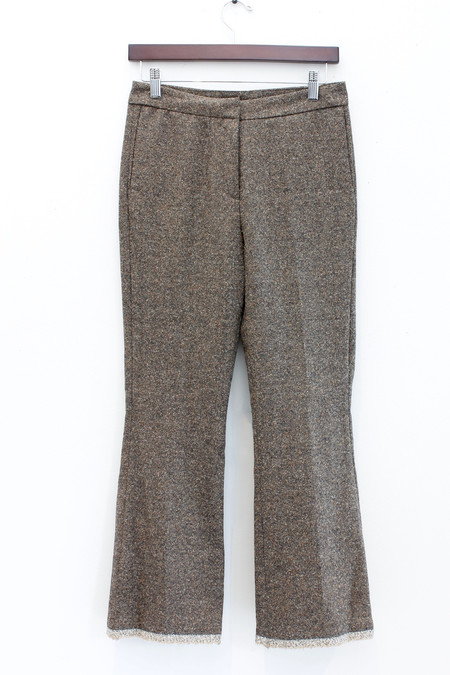 Ottod'Ame Brown wool pant with kick flare