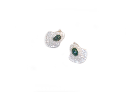 BAUXO SCENE SILVER EARRINGS WITH GREEN AGATE