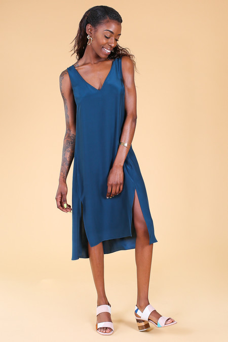 Vincetta Roan Slip Dress in Dark Teal