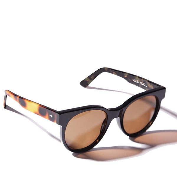 ZANZAN Avida Dollar Sunglasses in Black/Gold Leopard