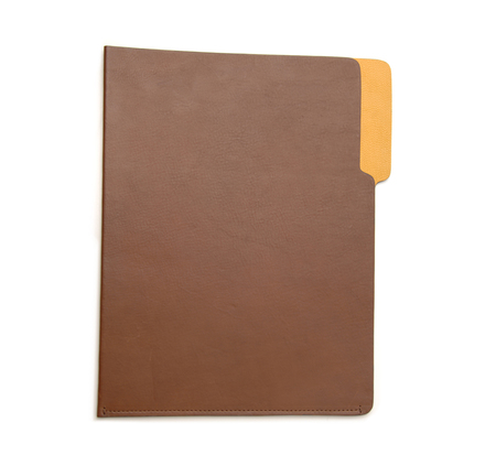 Unisex Hayden Leather Brown and Yellow Leather File Folder