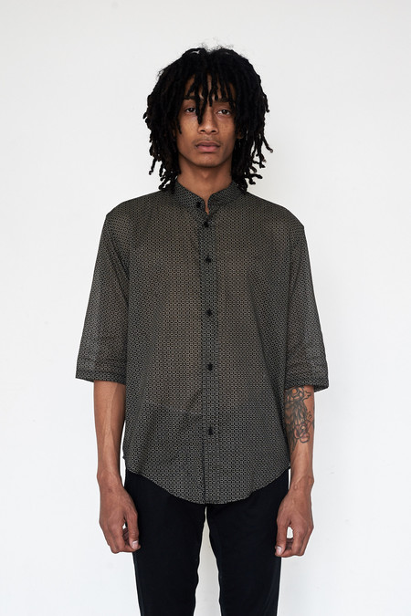 Assembly New York Cotton Hokkoh Print Non-collar Shirt
