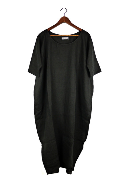 Rachel Craven Textiles Long Cocoon Dress - Black Linen