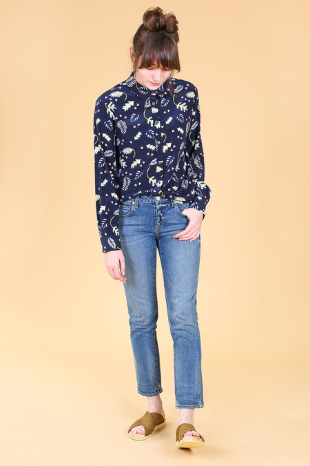 Chinti and Parker Jungle Love Boyfriend Shirt in Navy Multi