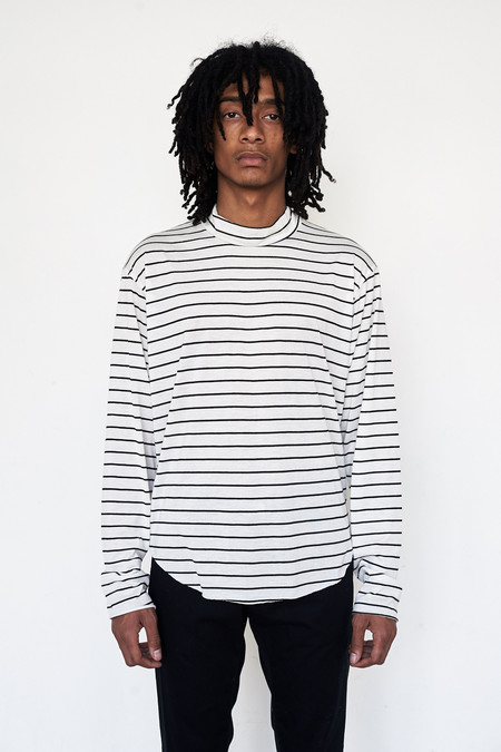 Assembly New York Cotton Reverse Terry Mockneck - White Stripe