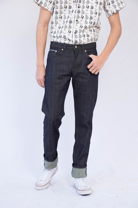 Men's Naked and Famous Green Tea Dyed Selvedge Weird Guy