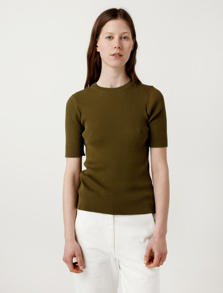 Sunspel Cotton Silk Rib T-Shirt Olive