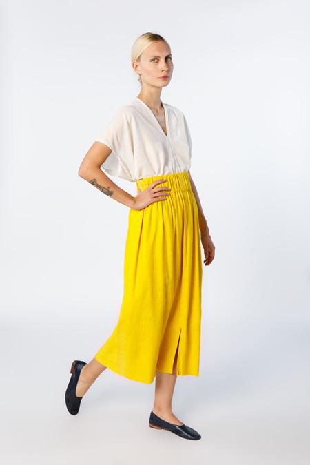 Miranda Bennett In-Stock: Paper Bag Skirt, Silk Noil in Marigold