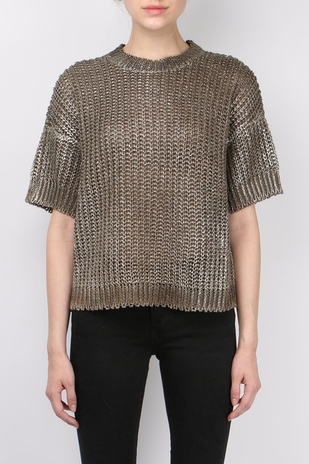 (nude) Coated Hand Dyed Linen Sweater