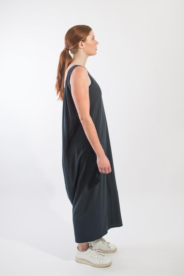 Black Crane Long Gathered Dress