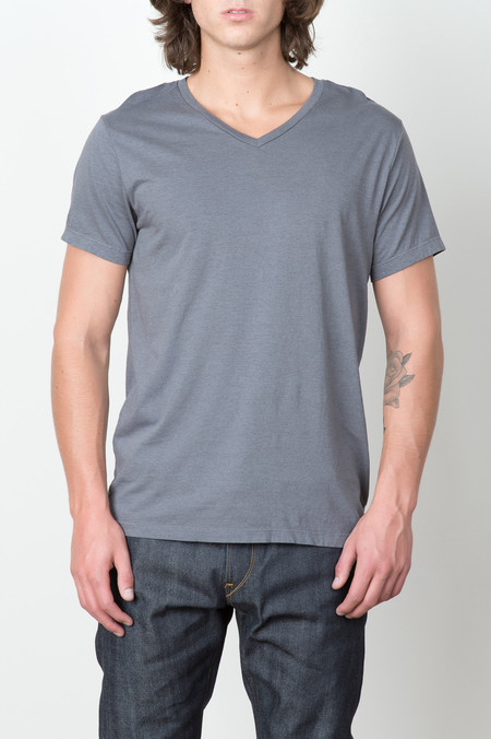 Save Khaki S/S Heather V-Neck Tee In New Metal