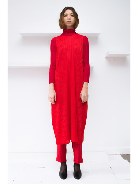 Issey Miyake A-Line Sleeveless Dress - Red