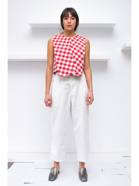 Nancy Stella Soto Gingham Sleeveless Top - Red