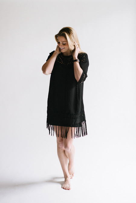 Sunday Supply Co. Ebony Fringe Shift