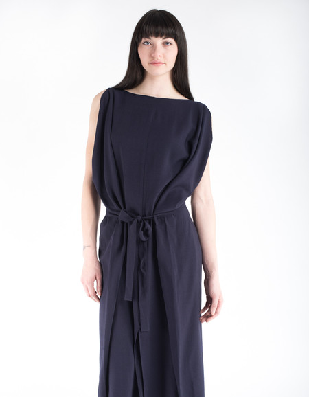 Sunja Link Draped Dress Navy