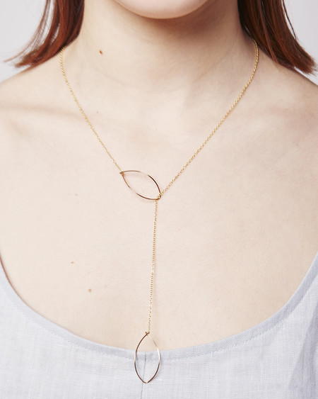 By Boe Long Lariat with Hanging Ovals Necklace