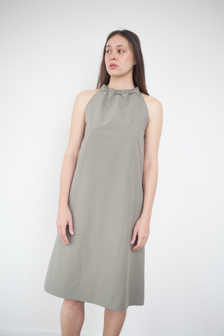 Nomia Gathered Halter Dress in Stone